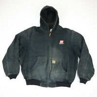 Destroyed Carhartt Hooded Work Jacket Faded Black Distressed Grunge Skate XL