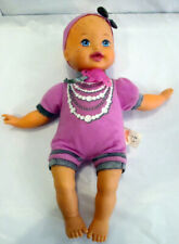 """2011 Mattel doll 13"""" little mommy with pacifier plush in Purple outfit Gray Bow"""