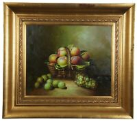20th C. Original Oil on Canvas Still Life Fruit Basket Peaches Grapes Framed 36""