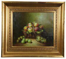 "20th C. Original Oil on Canvas Still Life Fruit Basket Peaches Grapes Framed 36"""