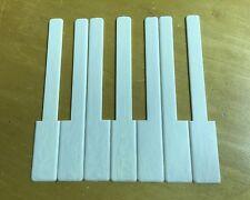 "7 Piano Keytops 1 Octave Simulated Satin Ivory Key Tops 2"" Long Head"