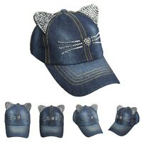 Jewel Studded Cat Ear Baseball Cap Bling Rhinestone Cotton Jean Denim Hat Party