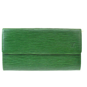 Auth LOUIS VUITTON Credit Long Bifold Wallet Epi Leather Green M63574 63MF897