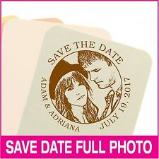 Personalized photo save-the-date hand stamp. Wedding and holiday stamp/seal.