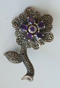 sterling silver brooch Shape flower  amethyst crystal and marcasite