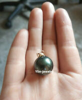 Wholesale Huge AAA 16mm South Sea Black Shell Pearl Pendant 14k Yellow Gold