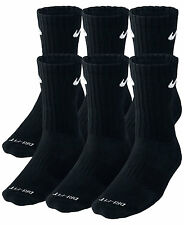 SALE Nike Dri Fit Dry Fit Cotton Black/White Crew Socks 3 Or 6 Pair Large 8-12