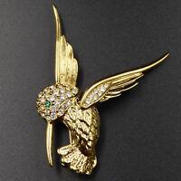 Hummingbird Pave Rhinestones Pin Brooch Figural Bird Green Eye Gold Vintage