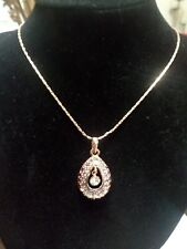 Fashion Jewelry Rose Gold Necklace With Multi Stone Pendant