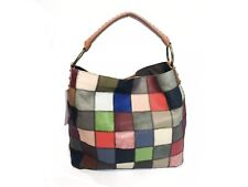 Kooba Leather Patchwork Carry All Hippy Eccentric Tote Technicolor Color Block