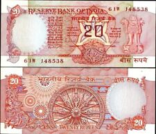 INDIA 20 RUPEES P-82 1985 x 100 Pcs Lot  BUNDLE PRAYER WHEEL PRIME MINISTER NOTE