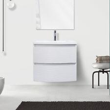 Mobile sospeso salvaspazio bagno 60 cm con 2 cassetti lavabo resina bianco opaco