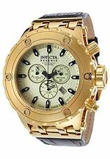 New Mens Invicta 17657 Subaqua Reserve Swiss Chrono Champagne Dial Leather Watch