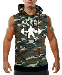 Men's Beast Muscle Camo Sleeveless Vest Hoodie Workout Fitness Bodybuilding Gym