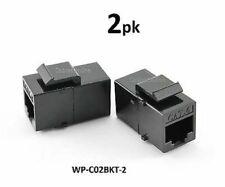 2-PACK CAT6 Female/Female RJ45 Ethernet Black Keystone Jack Coupler, WP-C02BKT-2