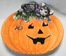 Fitz and Floyd Halloween Jack O Lantern Pumpkin Cat Plate