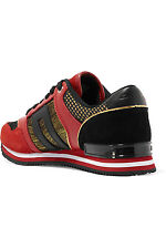 NIB RED DKNY METALLIC SUEDE AND LEATHER TRAINERS