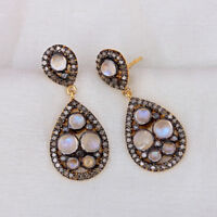 925 Sterling Silver Moonstone Dangle Earrings Natural Diamond Pave Fine Jewelry