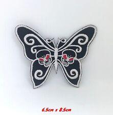 Papillons Noir Blanc Robe Badge Brodé Coudre Patch Thermocollant #1018