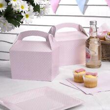 Geschenkboxen in zartem rosa mit weißen Punkten, 8er, 15cm x 9,5cm für Mitgebsel