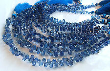 "3.5"" strand BLUE KYANITE faceted gem stone teardrop briolette beads 6mm - 7mm"