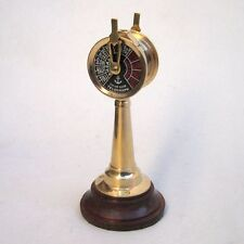 "6 1/2"" NAUTICAL BRASS ENGINE ORDER TELEGRAPH ON WOODEN STAND"