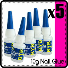 5PCS POINTED TIPS NAIL ART GLUE Acrylic Gel Manicure Salon Technician Tools 10g