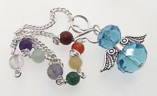 Blue Crystal Angel Charm Pendulum Doswer with Chakra Gemstone Chain