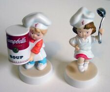 Campbells Soup Advertising Boy w/Ladle & Girl w/Soup Can Porcelain Figurines MIB