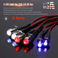 3PCS 6 LED Light Kit for 1/10 1/8 Traxxas HSP Redcat Tamiya D90 HPI RC Car E3P2