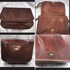 The Bridge Italian Brown Leather Shoulder Cross Body Satchel Bag Womens