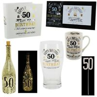 50th Birthday Signography Gifts - Mug Photo Album Frame LED Bottle Cake Topper
