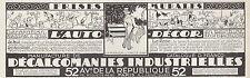 PUBLICITE DECALCOMANIE INDUSTRIELLE  FRISES MURALES  AD  1926 -1H