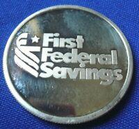 Vtg First Federal Saving Bank 1 Troy oz 999 Silver Art Round Coin 105