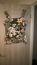 Ladies Black Green Multi Coloured FlowerLeaf Fitted Vest Top By D&P Size UK16