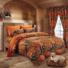 7 PC WOODS ORANGE CAMO COMFORTER AND SHEET SET QUEEN SIZE! CAMOUFLAGE! CURTAINS
