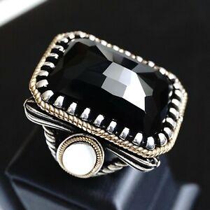925 Sterling Silver Mens Ring Black Onyx big Heavy 45gr Handmade Artisan Jewelry