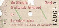 B.R.B. Ultimatic Ticket - Gatwick Airport to London (S.R.)