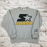 Vintage Starter Sweatshirt Medium Grey Jumper Made USA Logo Spell Out Small Unis