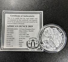 2019 Rwanda 50 Francs African Wildlife Shoebill 1 Oz Silver Proof 1000 minted