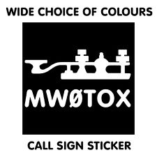 CW MORSE KEY CALL SIGN DECAL STICKER FOR SHACK WALL WINDOW HAM AMATEUR RADIO