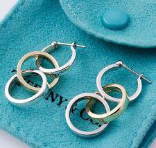 Tiffany & Co Picasso Silver 18K Yellow Gold Triple 3 Hoop Loop Dangle Earrings