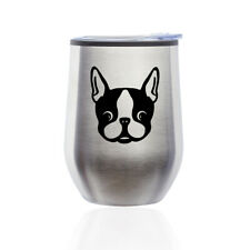 Stemless Wine Tumbler Coffee Travel Mug Glass Cup w/ Lid Boston Terrier Puppy