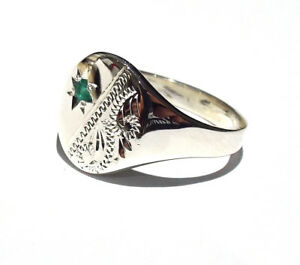 Men's Silver Emerald Signet Ring Hallmarked British Handmade size P - Z+4
