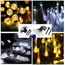 3M/30LED Solar Waterproof Fairy String Lights Crystal Ball/Raindrop Outdoor Xmas