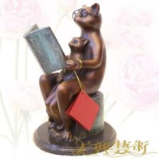 West Art Deco Sculpture Cat father to tell his son  fairy tale Bronze Statue