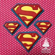 SUPERMAN LOGO Large Medium small SUPER HEROES edible icing cupcake cake toppers