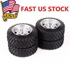 US 4Pcs Rally Racing Rubber Tire Wheel Rims Set For HSP HPI RC 1:10 Car 12mm Hex