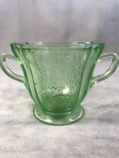 PV02474 Federal Glass Depression Vaseline SYLVAN / PARROT Open Sugar Bowl
