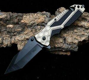 Spear Point Folding Knife Pocket Hunting Survival Tactical Carbon Steel Flipper